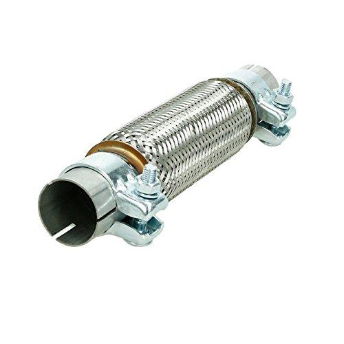ECD Germany Universal Flexrohr Edelstahl Interlock 45 x 200 mm mit 2 Schellen Montage ohne Schweißen Flexstück Wellrohr Hosenrohr flexibles Rohr