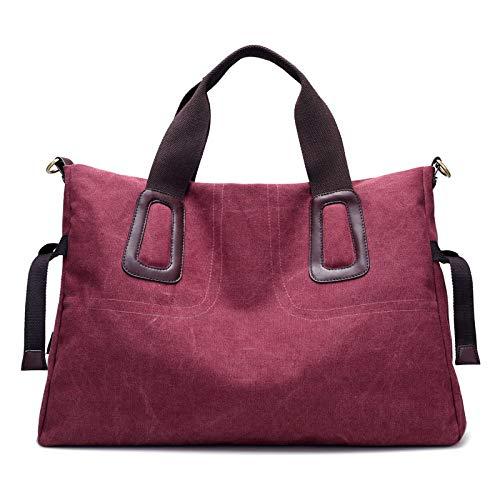 JHRJK Segeltuchhandtaschen der Dame bagsWomen Schulterart und weisehandtasche beiläufige einfache Retro Kuriertasche der großen Kapazität, purpurrote Karte -