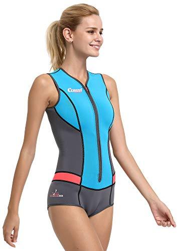 Cressi Idra Swimsuit 2mm High-Stretch Neopren Kostüm für Damen Hellblau ()