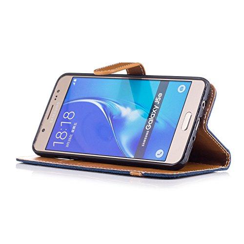 Hülle für Samsung Galaxy J5 2016, Tasche für Samsung Galaxy J5 2016, Case Cover für Samsung Galaxy J5 2016, ISAKEN Farbig Blank Muster Folio PU Leder Flip Cover Brieftasche Geldbörse Wallet Case Leder Leinen Dunkelblau