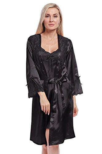 7806e11d2c BellisMira Donne Accappatoio Sexy della Biancheria Sciolto Raso Pigiama  Kimono Camicia da Notte Setosa Vestaglia con