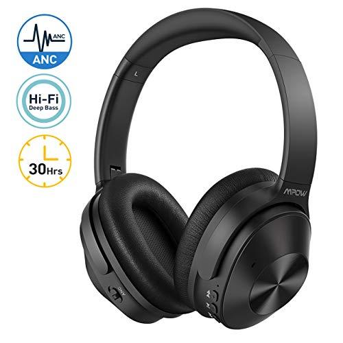 Mpow H12 Casque Bluetooth à Réduction de Bruit, Casque Bluetooth 5.0 Hybride Réduction du Bruit, Casque Audio Jusqu'à 30 Heures, Microphone CVC 6.0 Réducteur de Bruit pour Téléphone/Tablettes