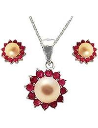 Austral Jewellery Ltd - 925 y Perla Rubí real CONJUNTO DE REGALO, colgante, pendientes del perno y de la cadena - Julio la piedra de nacimiento