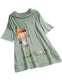 TUDUZ Blusas Mujer Manga Corta Verano Camiseta Holgada con Estampado Holgado De Niña De Ocio