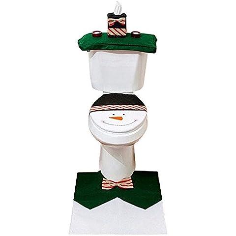 Aohro Conjunto de 3 decoración de Navidad Fudna de tapa del Inodoro Alfombra y Funda de Tanque de Inodoro - Verde