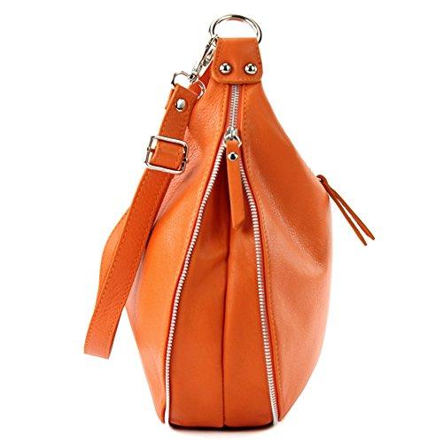 modamoda de - ital. Ledertasche Schultertasche Damentasche Umhängetasche Nappaleder T56 Orange