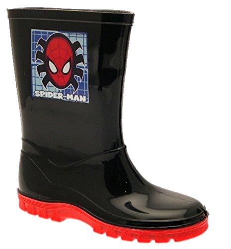 (Kinder Jungen Marvel Spiderman Schneestiefel, Gummistiefel, Gummistiefel schwarz, Schwarz - Spiderman - Face - Größe: 24,5 EU)