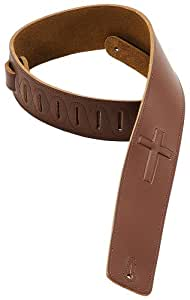 Levy's Leathers Dm1sgc-brn 2.5 inch Leather Strap with Embossed Cross - Brown