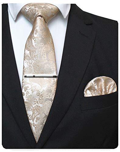 JEMYGINS Gold krawatte Paisley Seide Herren Krawatten und Einstecktuch mit krawattenklammer Sets (4)