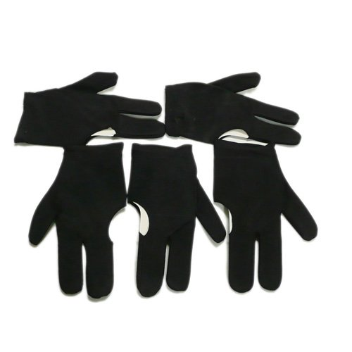 TOOGOO(R) 5 schwarze drei Finger Handschuhe fuer Billardspielen Snooker