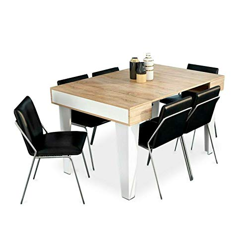 Home Innovation - Table Console Extensible, rectangulaire avec rallonges, Nordic KL jusqu'à 140 cm, Style Scandinave pour Salle à Manger et séjour, Blanc Mat - Chêne brossé. JusquŽà 6 Personnes