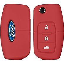 PhoneNatic Funda de silicona para mando de 3 botones de Ford Focus / Fusion / S-Max en rojo Llave plegable de 3-Key