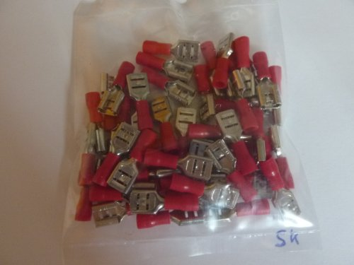 profitec 50 Stück Kabelschuh Flachsteckhülse 6,4 mm rot für Kabel 0,5 mm² - 1,5 mm²