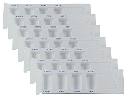 Viva Haushaltswaren 7 x Medikamentendispenser für je 1 Tag mit 4 grossen Fächern Pillendose