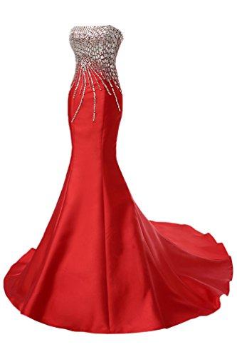 Ivydressing Damen Mermaid Traegerlos Satin Lang Steine Festkleid Abendkleider Rot