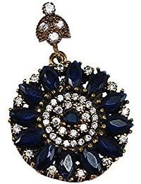 Silvestoo India Sapphire (Created) & Topaz Sterling Silver & Bronze Pendant For Women & Girls PG-129942