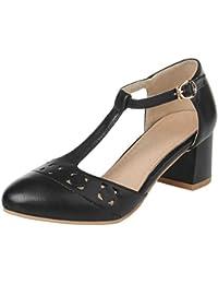 Coolcept Zapato Mujer Moda Comodo Hollow Correa EN T Medio Chunky Tacon Sandalias For Vestir Trabajo Oficina (31 EU, Black)