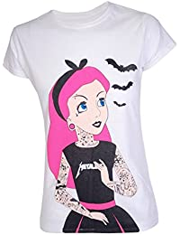 Darkside Clothing Damen T-Shirt Weiß Weiß