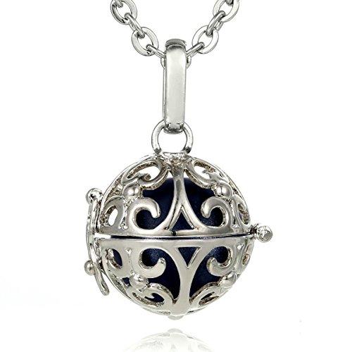 Morella® Damen Halskette Edelstahl 70 cm mit Ornament Anhänger und Klangkugel schwarz Ø 16 mm in Schmuckbeutel -