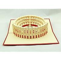 Handgemachte 3D Pop-up-Karte Italien Rom Colosseum Geburtstag Valentines Vatertag Muttertag Ostern Halloween Thanksgiving Weihnachten Xmas Hochzeit Party Meeting Einladungskarte Geschenk für ihn ihr Familienfreund
