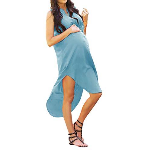 (MRURIC❀ Mutterschaftskleid Frauen-festes schwangeres Elegantes ärmelloses reizvolles Kleid-Sommerkleid Schwanger Stillpyjama Nachthemd Dress Schwangerschaft Stillkleider Umstandsmode)