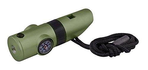 DAYAN Camping Notpfeife Kompass Thermometer Lupe Reflektor LED-Taschenlampe - 7 in 1 Survival Guide Tools Kit für Outdoor Wandern Angeln Jagd in Armee-Grün - 1 Reflektor-kit
