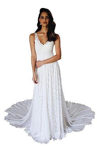 dressvip Abito da sposa in Pizzo Stile bohemien appliquettato da spiaggia con  Abito da sposa con 4338af227833