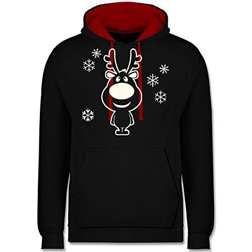 Weihnachten & Silvester - Rentier Schneeflocken - 5XL - Schwarz/Rot - JH003 - Kontrast Hoodie