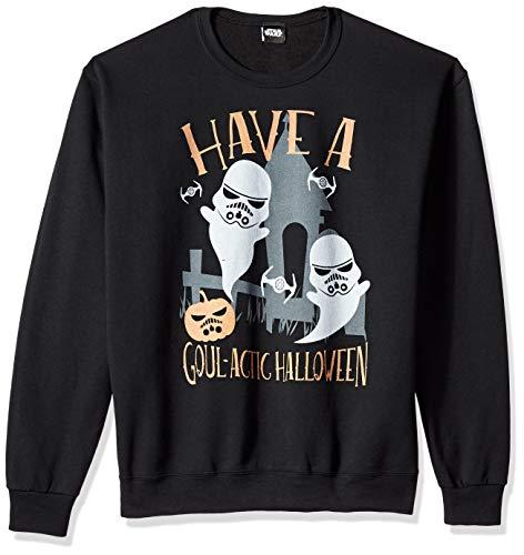 Star Wars Herren Licensed Goulactic Halloween Crew Fleece T-Shirt, schwarz, Groß Star Wars Chewbacca Fleece