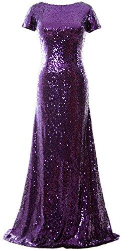 MACloth - Robe - Trapèze - Manches Courtes - Femme Violet - Violet