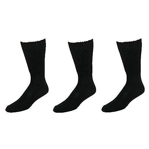 Extra Large Sock Co. Chaussettes de chaussettes Large Big et haut Tube en coton (Lot de 3) - noir - Taille Unique