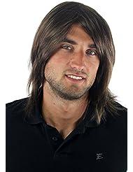 Longue perruque pour homme, style jeune, décontracté et à la mode, avec raie au milieu de couleur châtain GFW892-10 Toupet