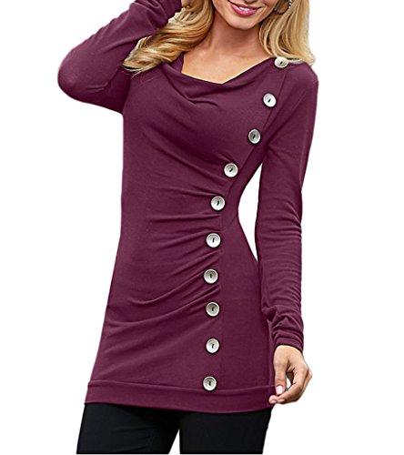 Smile YKK Top Manches Longues Femme T-shirt Chemise Blouse Haut Pull pour Printemps Automne Violet Rouge