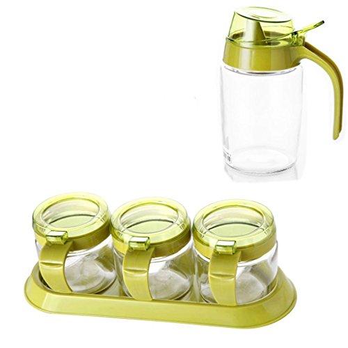 GBT Gewürzflasche Geschirr Glas Gewürzbehälter Gewürzflasche mit Deckel Löffel Löffelbox Multi-Grid Gewürzdose mit Tablett (5 Assemblies),Grün