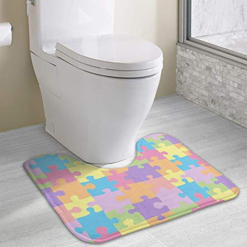 Hoklcvd Personalized Toilet Carpet-Geometric-Shapes WC U-Form MatCartoon Weiche Matte Dusche Boden Teppich Badezimmer -
