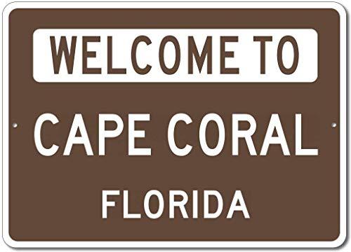 Aluminium Schild Welcome to Cape Coral Florida USA City State Brown Deko-Blechschild Wanddekoration
