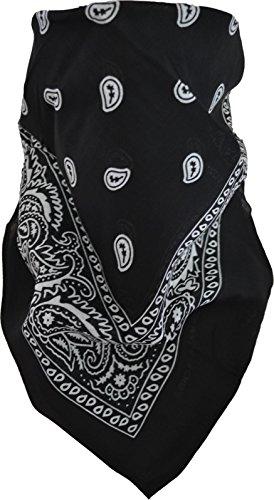 3 × Rocker & Biker Bandana Cap Kopftuch Halstuch in vielen Ausführungen Farbe Schwarz/Weiß