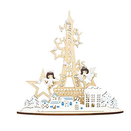 Myspace 2019 Dekoration für Christmas Weihnachtsschmuck Kreative Engel Turm Holz bemalt DIY Home Decoration Holz bemalt Weihnachtsschmuck Engel Turm