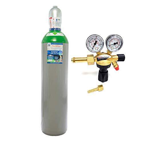 Argon 4.6 20 Liter Flasche/NEUE Gasflasche (Argonflasche, Eigentumsflasche), gefüllt mit Argon 4.6/10 Jahre TÜV ab Herstelldatum/EU Zulassung/PROFI-Schweißargon WIG,MIG Import mit Druckminderer