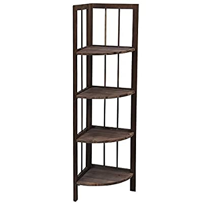 4 Tier Fordable Pine Wooden Corner Shelf Storage Unit Bathroom Living Room Shelves Rack, Brown produced by tinkertonk - quick delivery from UK.