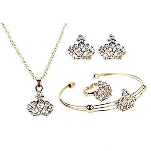 Liquidazione offerte, Fittingran Set di Gioielli Eleganti Orecchini Vintage Catena Corona (Oro)