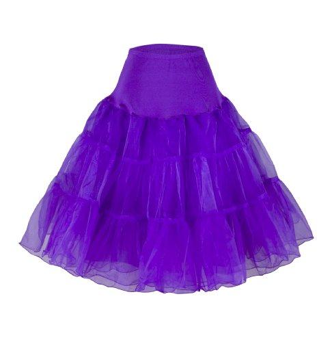 "Flora 50s Vintage Rockabilly Petticoat Skirt, 25"" Length Net Underskirt (EU 42-50 (L-XXL), lila)"
