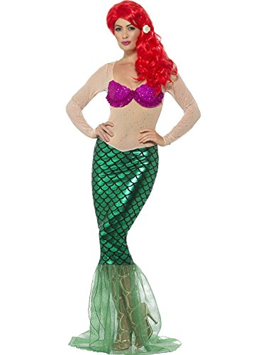 Smiffys Damen Deluxe Sexy Meerjungfrau Kostüm, Langes Pailletten Kleid und Haarklammer, Größe: 32-34, 44637