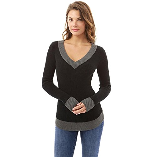 LILICAT Frauen Pulli V-Ausschnitt Tuniken Freizeit Langarm Shirt Elegant Pullover Casual Sweatshirt Damen SweaterLässige Einfarbig Tunika Mode Tops (Schwarz, L) (Streifen-damen-flanell)