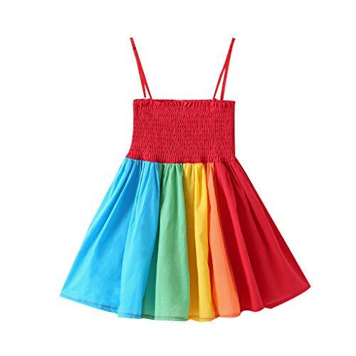 y ärmelRegenBogen-Riemen-Kleid-Kleinkind-Backless Partei-Kostüm für Kinder Prinzessin-Kleid ()