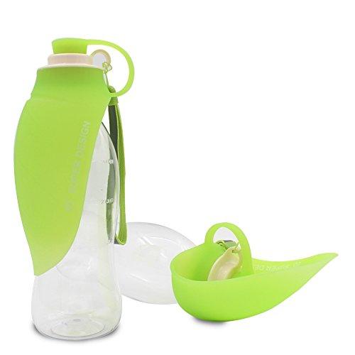 Gozing Haustier Wasserflasche Hund Katze Trinkflasche 600ML / 20 oz - Reversible & Leichte Wasserspender Food-Grade-Silikon-Flasche für Hunde und Katzen-Grün - Reversible Wasser