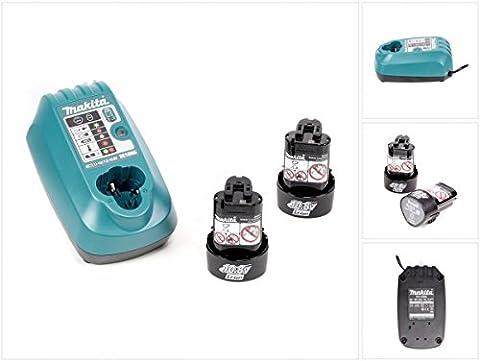 Makita Power - Set Ladegerät DC 10 WA für 7,2 V - 10,8 V mit 2 x 1,3 Ah 10,8 V Akku
