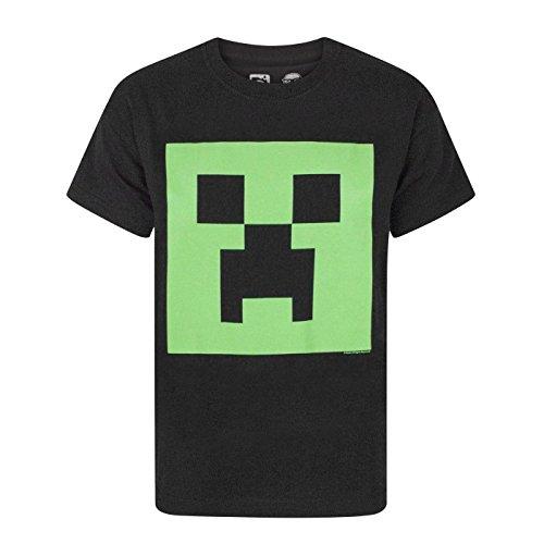 Minecraft offizielles Jungen Creeper Glow In The Dark Face T-Shirt (5-6 Jahre (116)) (Schwarz)