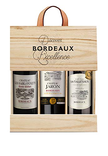 Selection Bordeaux Wein Probierpaket mit Goldmedaille in Holzkiste Rotwein (3 x 0.75 l)
