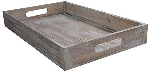(khevga Servier-Tablett Holz Vintage weiß)